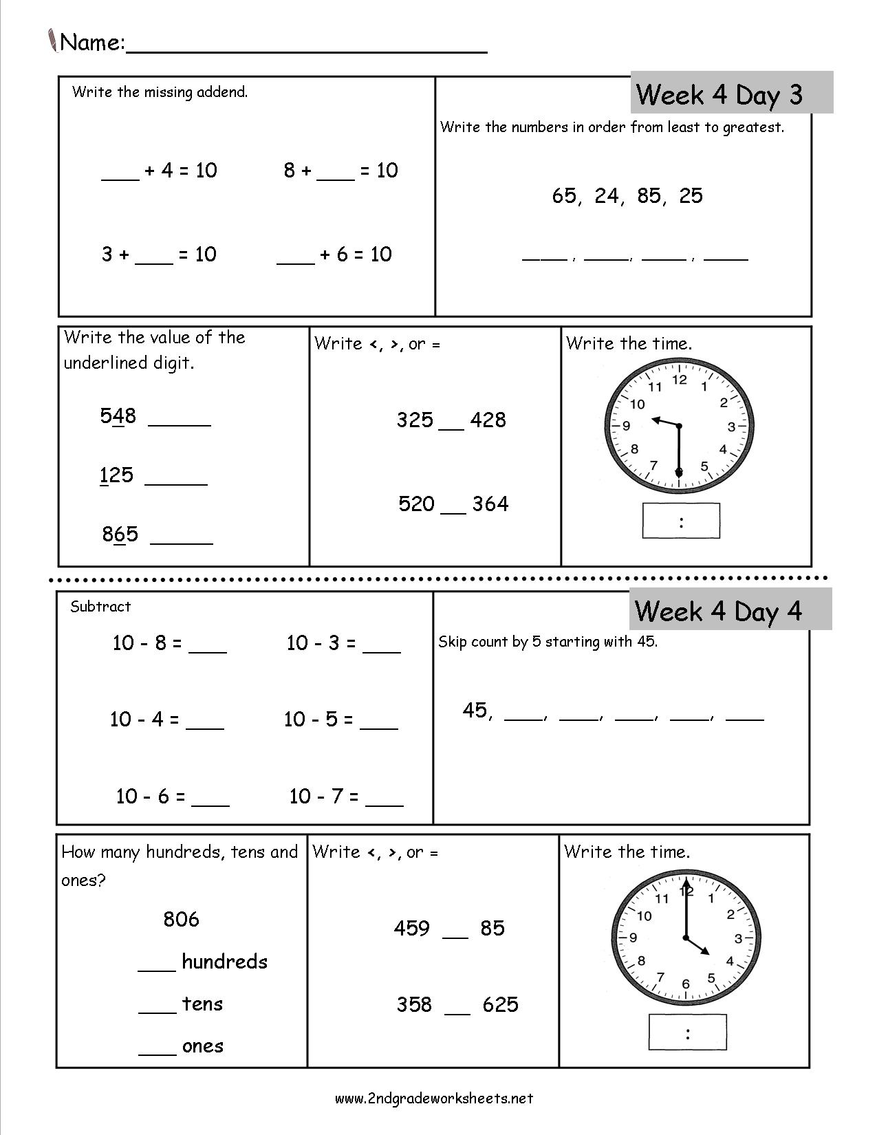 Free 2Nd Grade Daily Math Worksheets - Free Printable Activity Sheets For 2Nd Grade