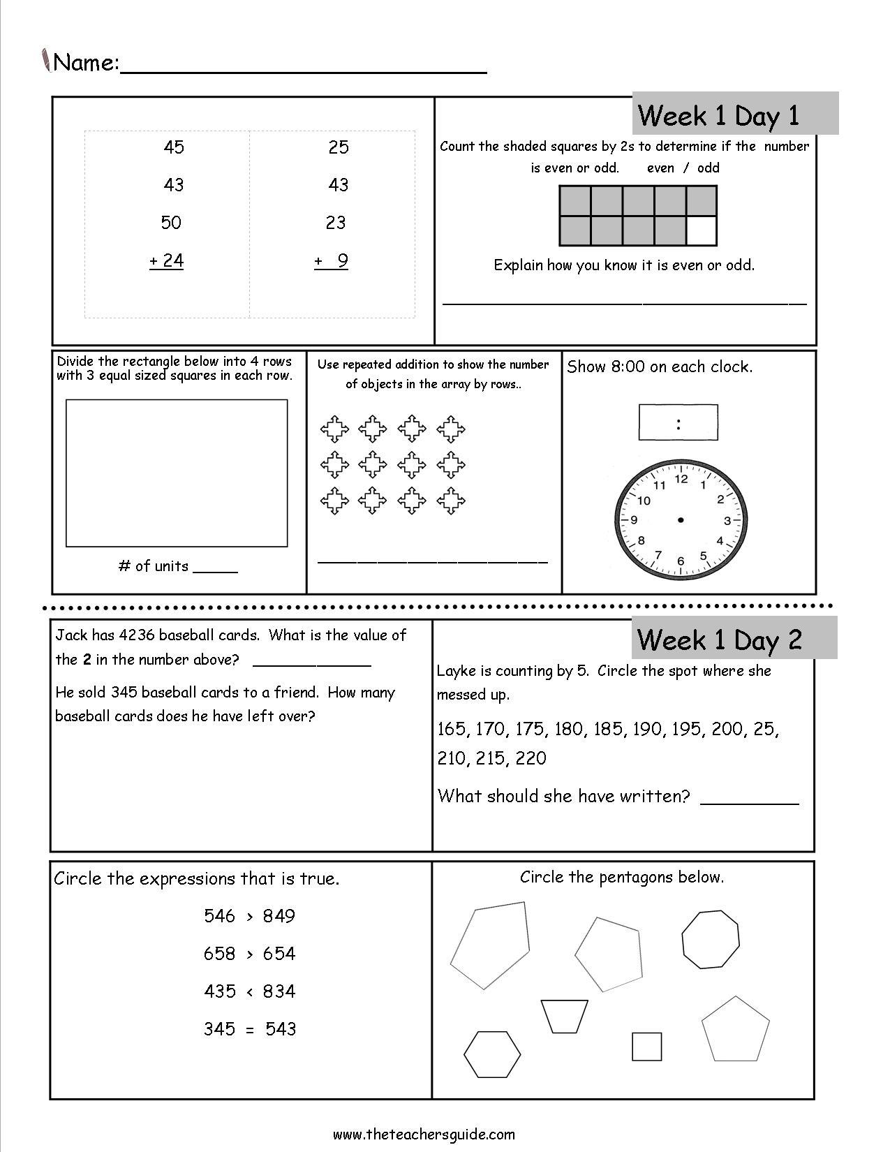 Free 3Rd Grade Daily Math Worksheets - Free Printable 4Th Grade Morning Work