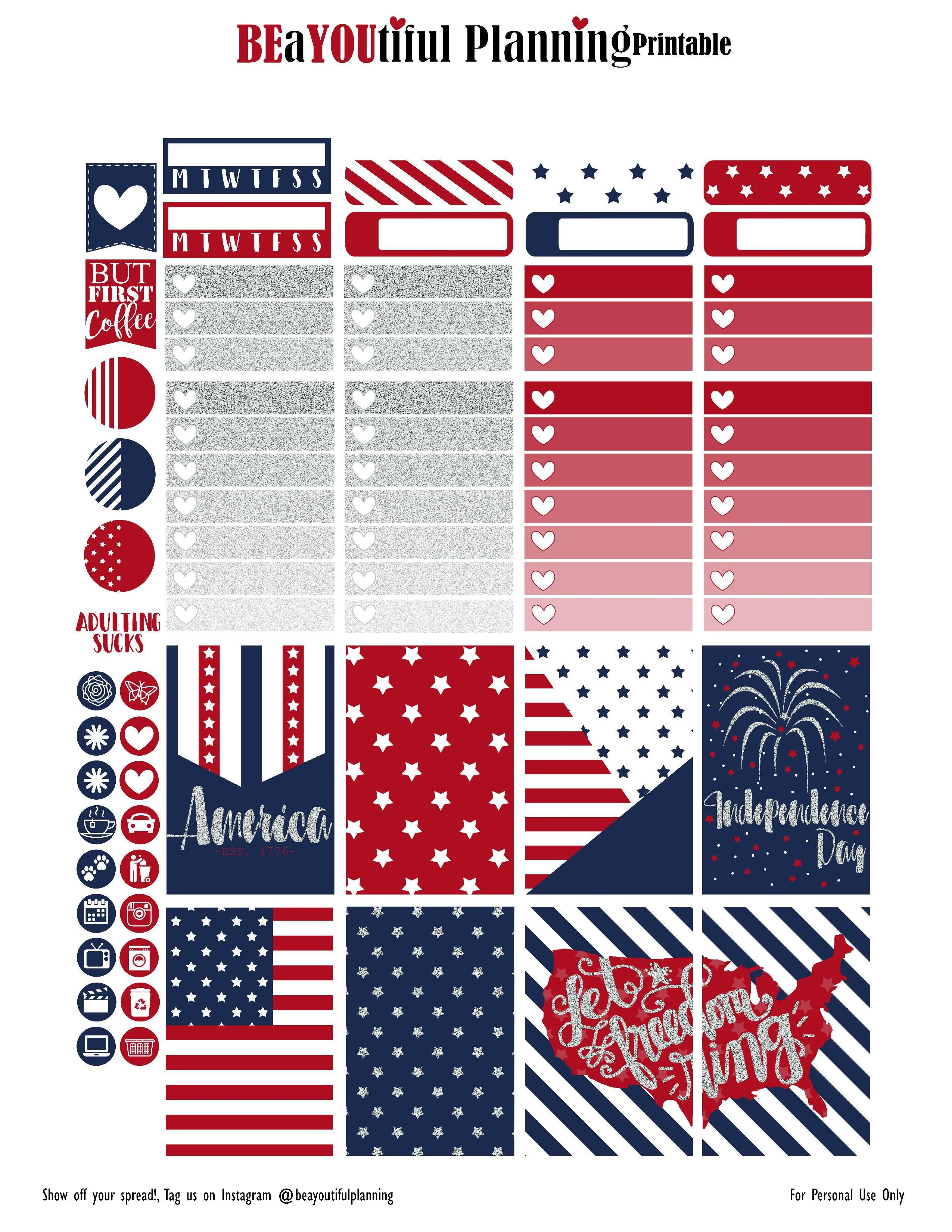 Free 4Th Of July Planner Stickersbeayoutifulplanning | Happy - Free Printable 4Th Of July Stationery
