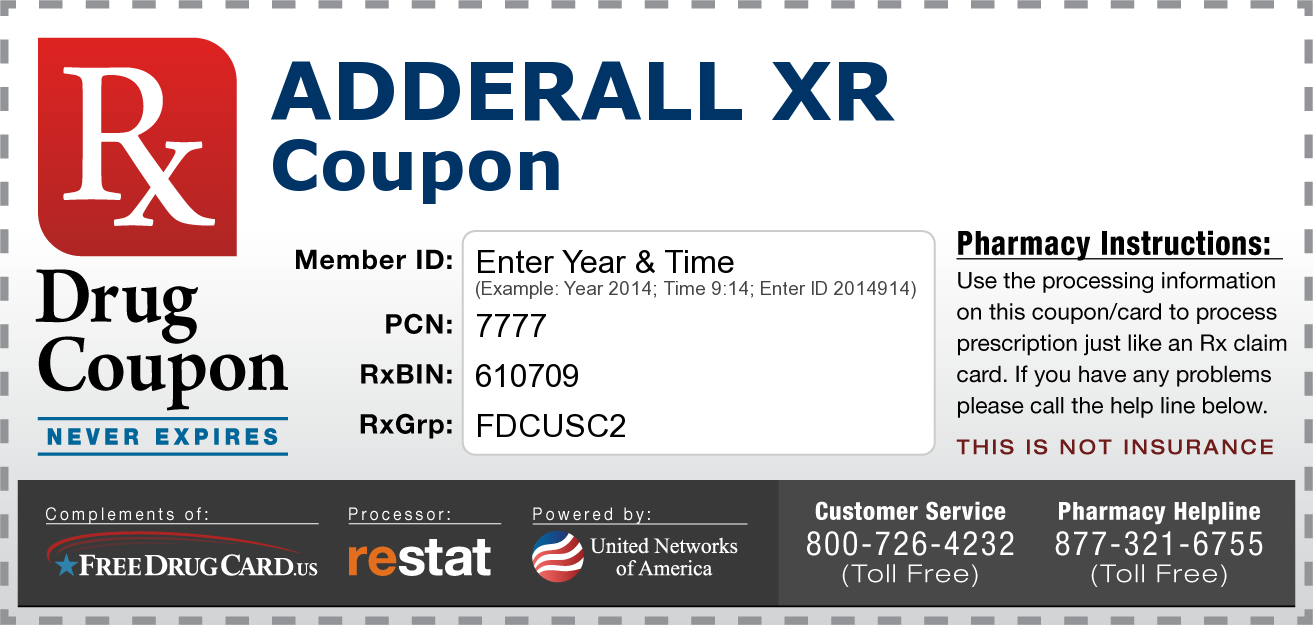 Free Adderall Coupon Available To Everyone Regardless Of Age Or - Free Printable Prescription Coupons