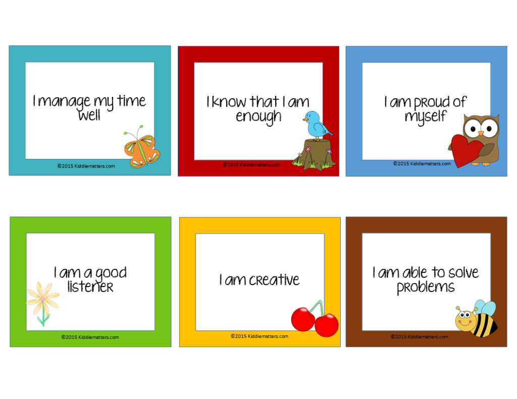 Free Affirmation Cards For Kids! - Kiddie Matters - Free Printable Positive Affirmation Cards