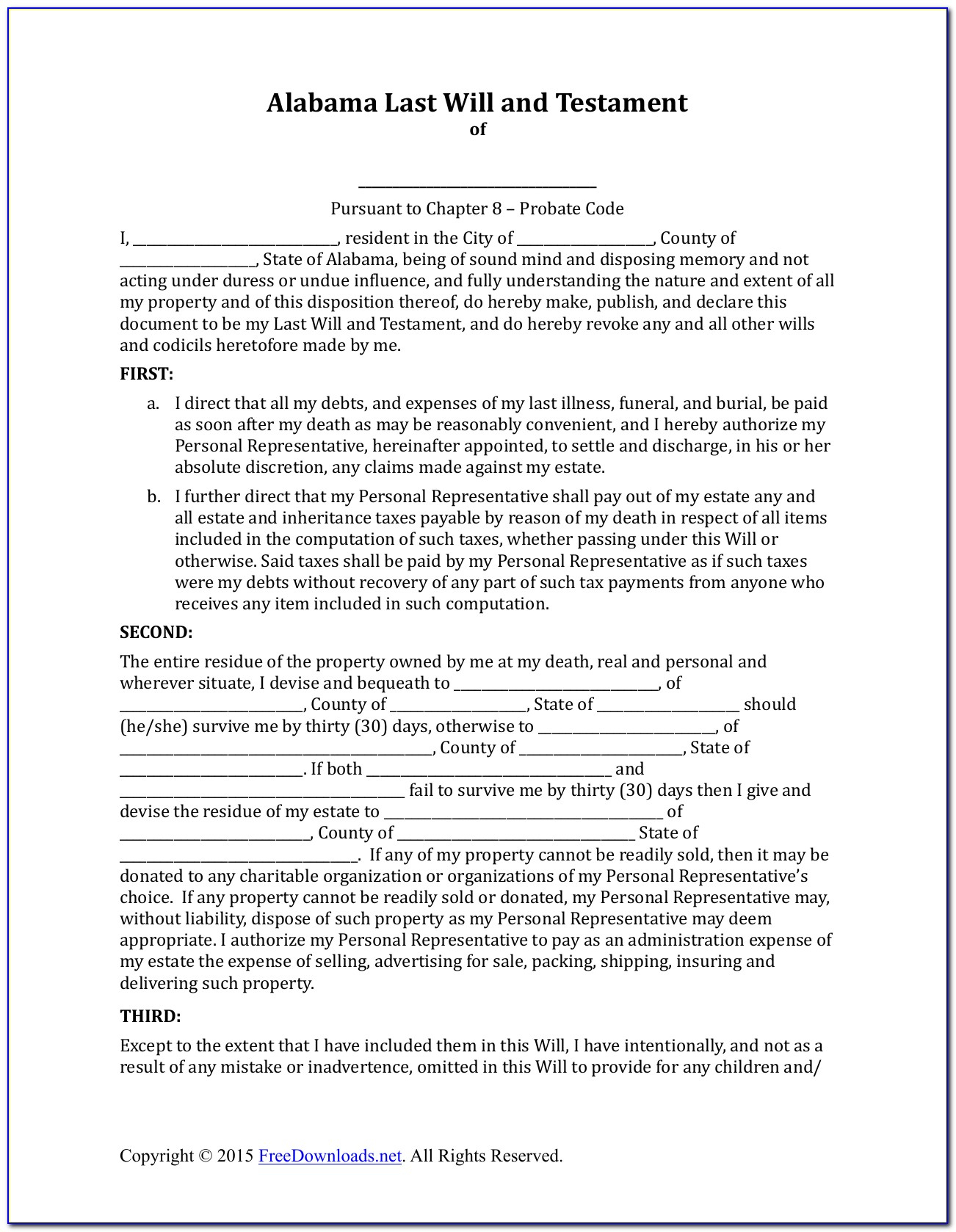 Free Alabama Last Will And Testament Form - Form : Resume Examples - Free Printable Last Will And Testament Blank Forms