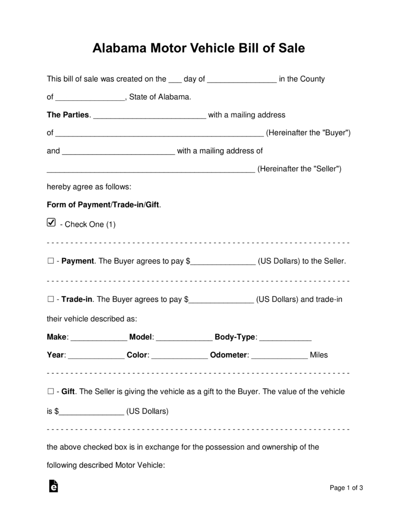Free Alabama Motor Vehicle Bill Of Sale Form - Word | Pdf | Eforms - Free Printable Vehicle Bill Of Sale