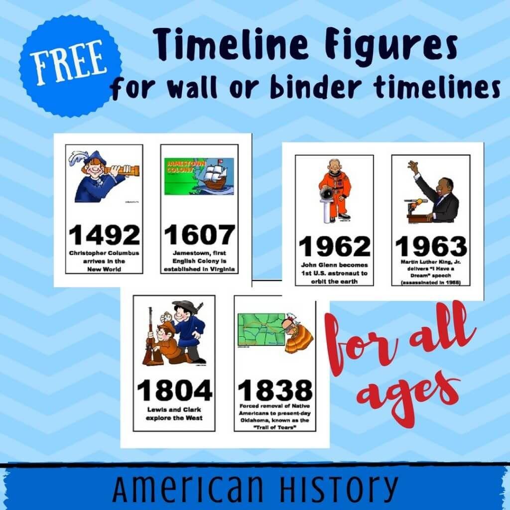 Free American History Timeline Figures Printables Homeschool | World - Free Printable Timeline Figures