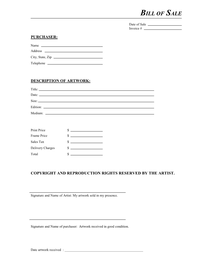 Free Artwork Bill Of Sale Form - Download Pdf | Word - Free Printable Bill Of Sale Form