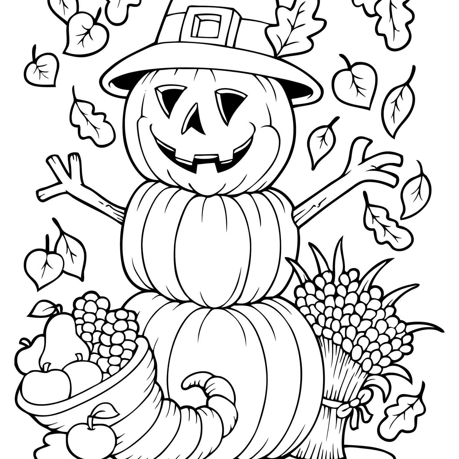 Free Autumn And Fall Coloring Pages - Free Fall Printable Coloring Sheets