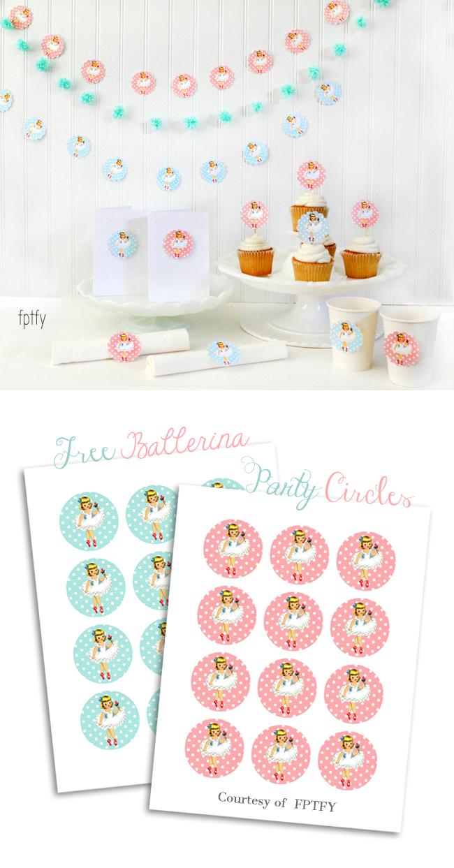 Free Ballerina Party Printable Circles - Free Printable Ballerina Birthday Invitations