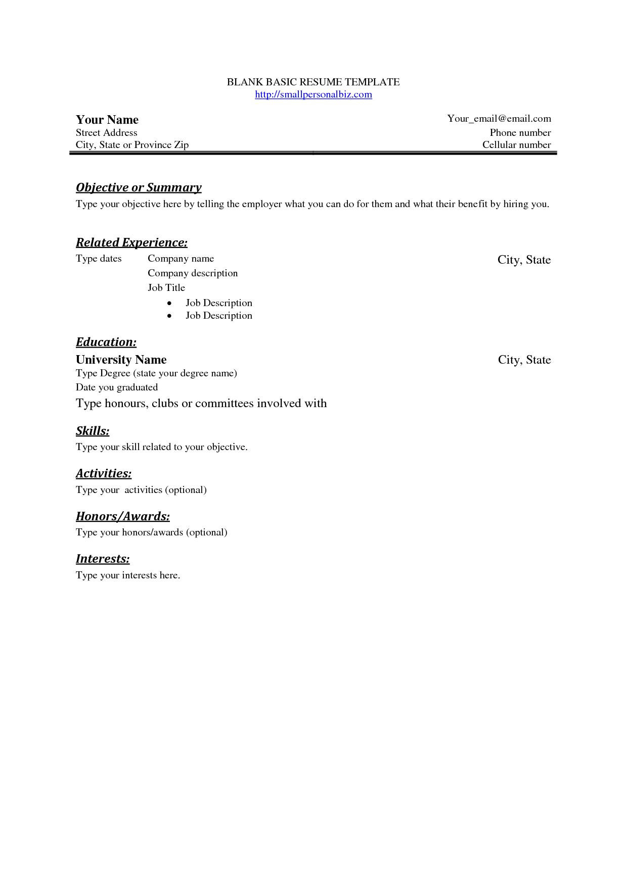 Free Basic Blank Resume Template | Free Basic Sample Resume | Beauty - Free Printable Professional Resume Templates