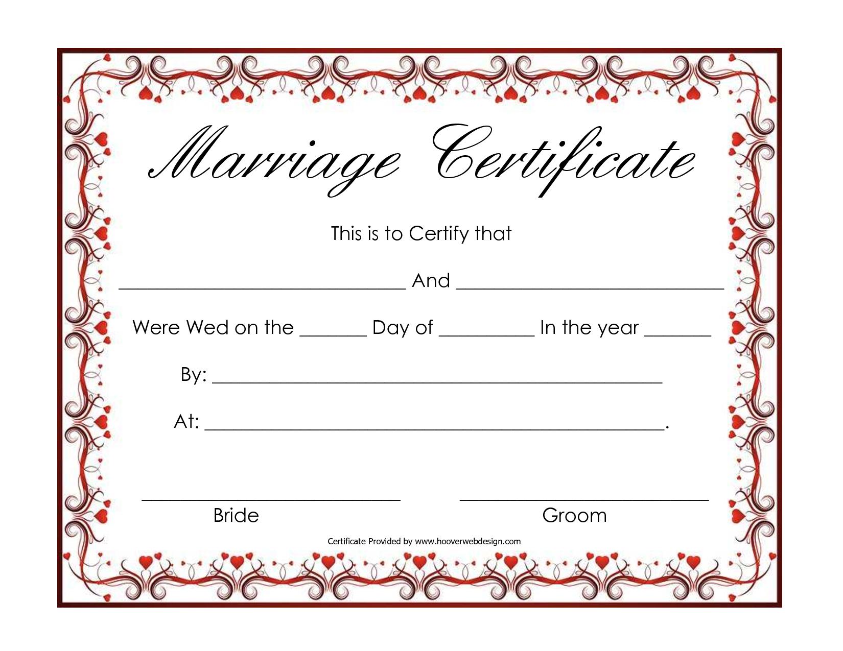 Free Blank Marriage Certificates | Printable Marriage Certificate - Free Printable Wedding Certificates