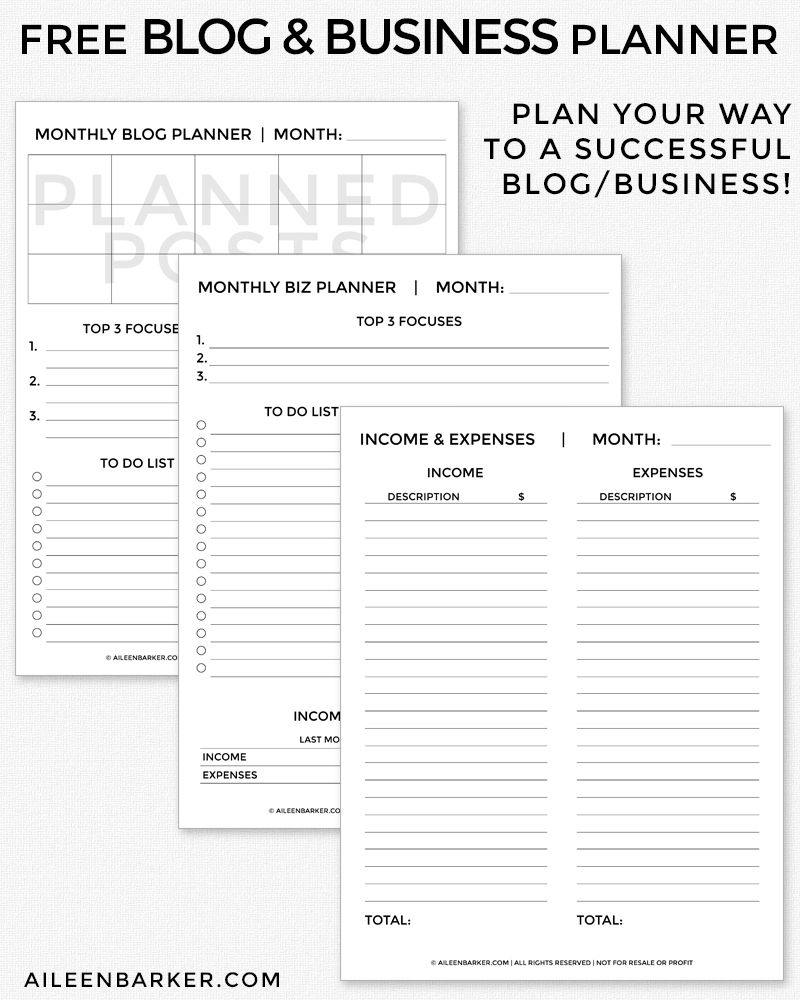 Free Blog And Business Planner Printable | Blogging | Pinterest - Free Printable Business Documents