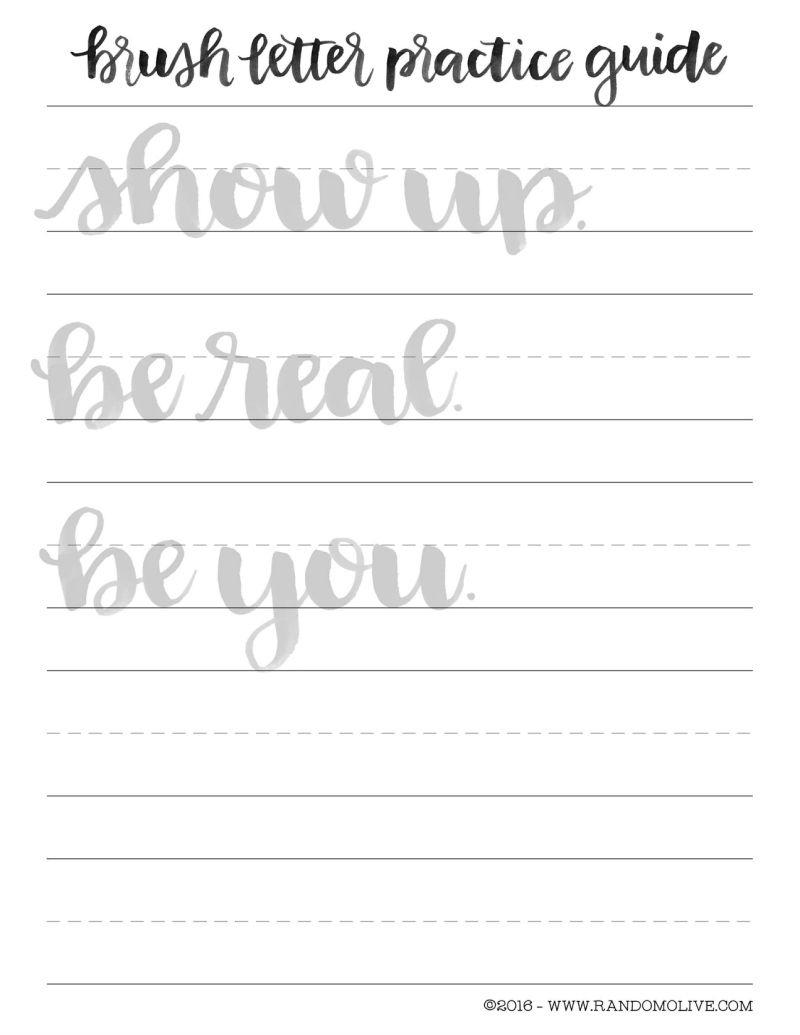 Free Brush Lettering Practice Sheet | Lettering | Pinterest | Brush - Modern Calligraphy Practice Sheets Printable Free