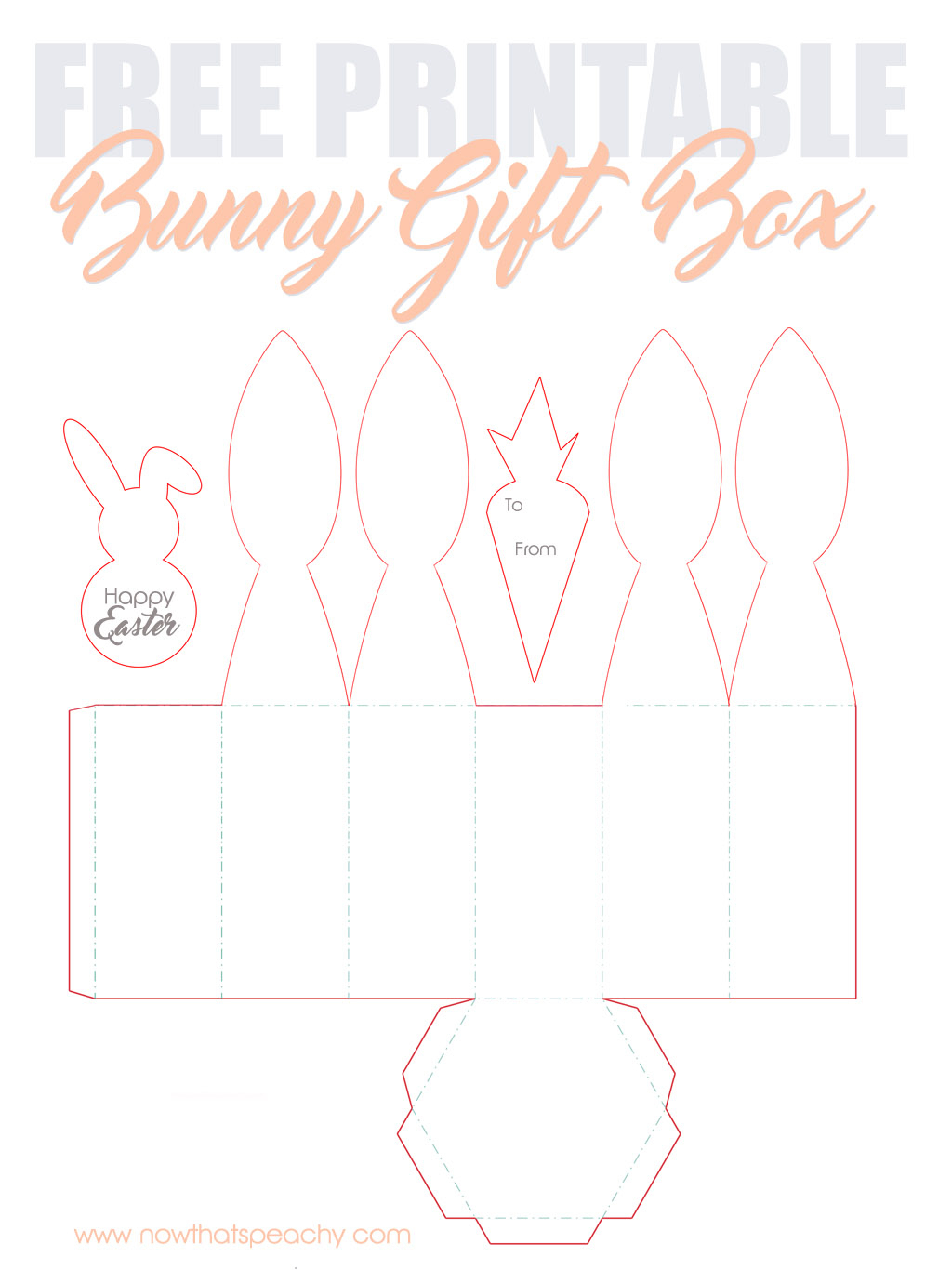 Free Bunny Ears Gift Box Printable For Easter | Now Thats Peachy - Free Printable Bunny Templates