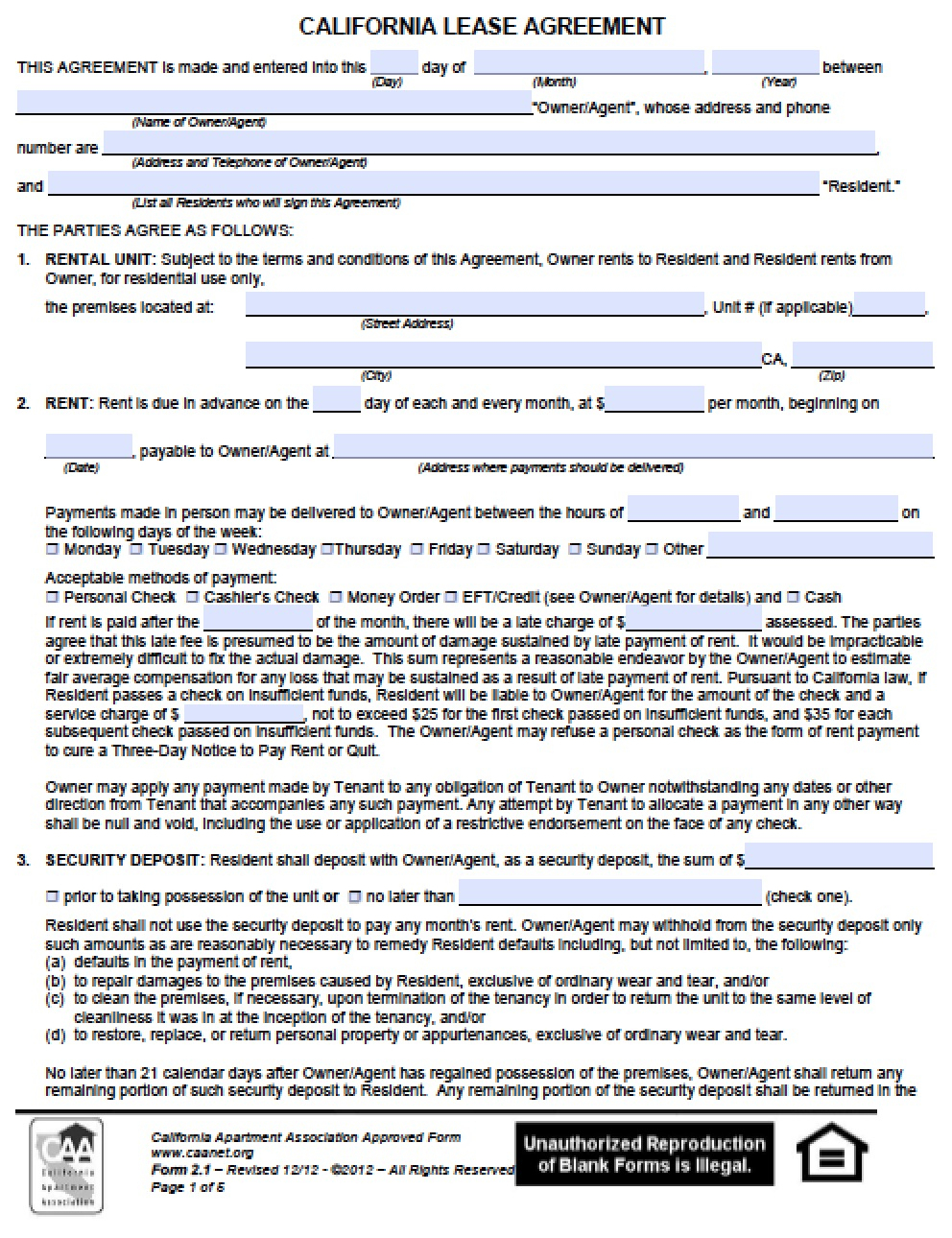 Free California Residential Lease Agreement | Pdf | Word (.doc) - Free Printable California Residential Lease Agreement