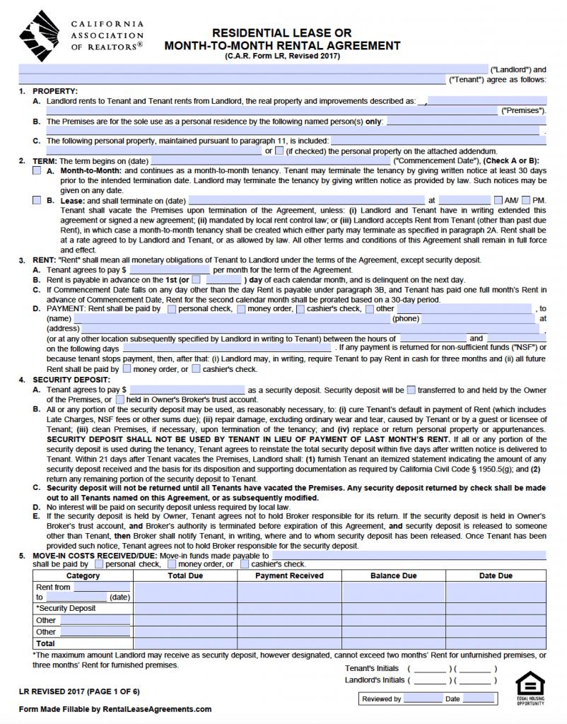 Free California Standard Residential Lease Agreement Template – Pdf - Free Printable California Residential Lease Agreement