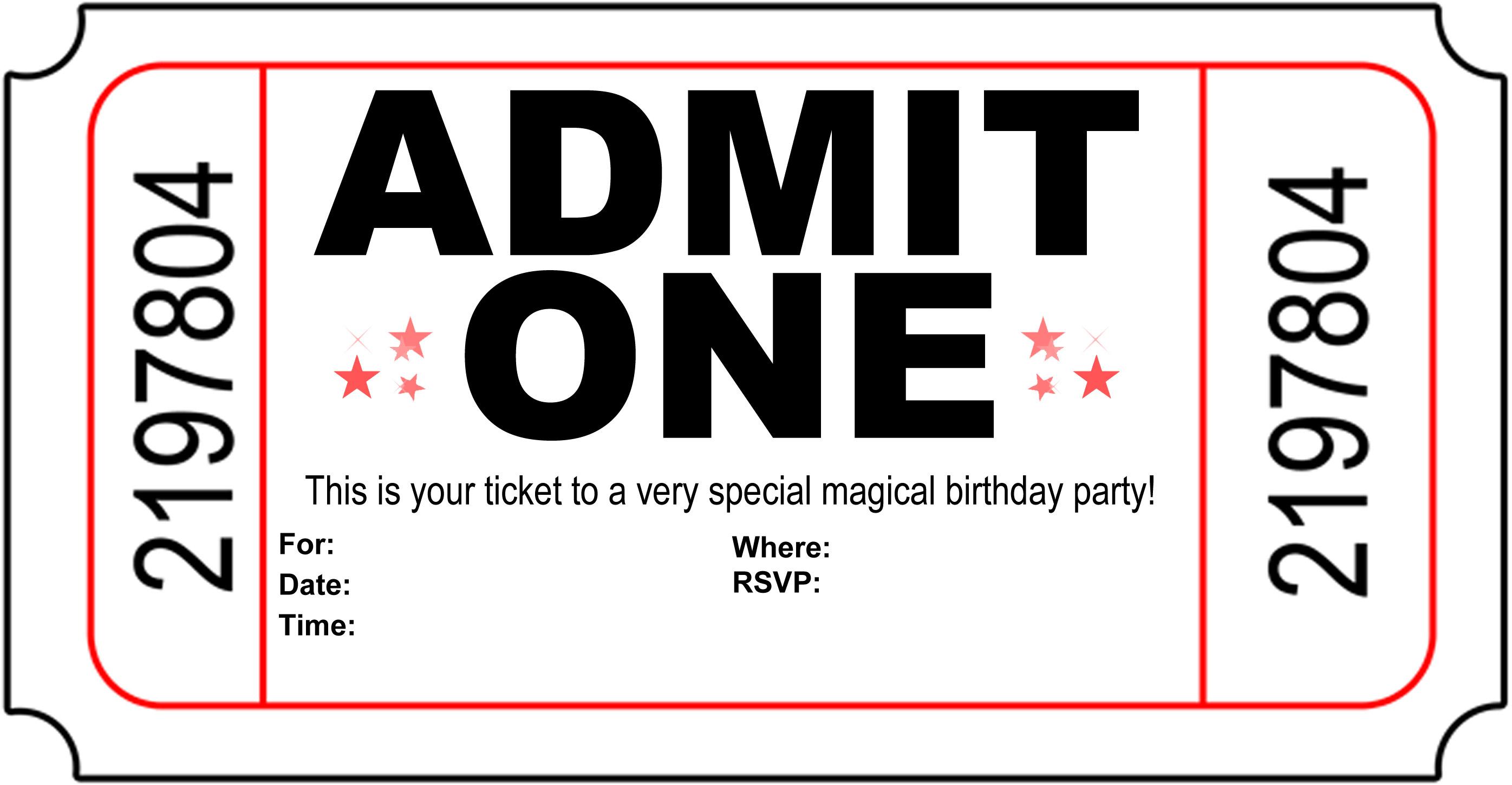 Free Carnival Ticket Invitation Template, Download Free Clip Art - Free Printable Invitations Templates