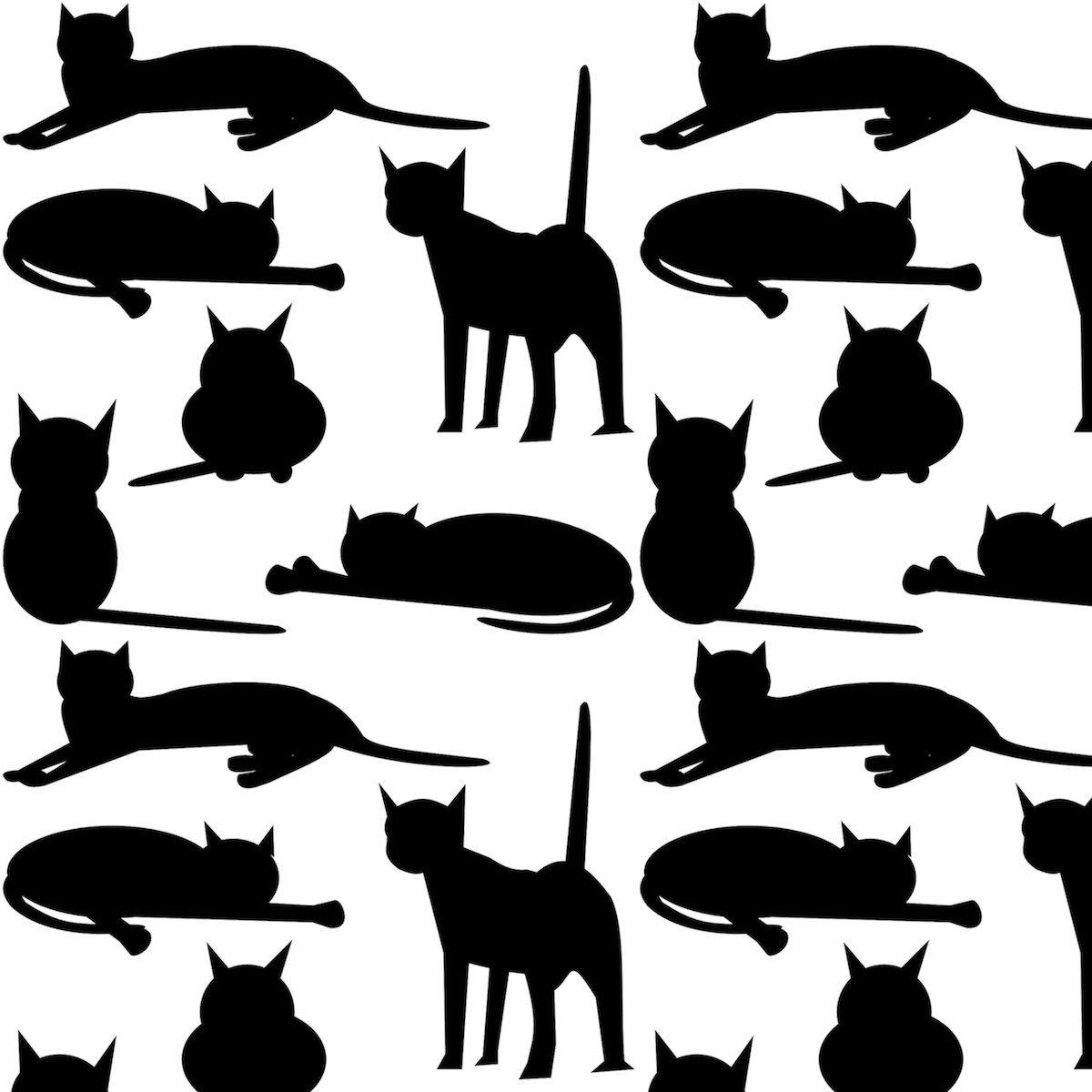 Free Cat Images: Free Digital Cat Pattern - Black And White Colored - Free Printable Cat Silhouette