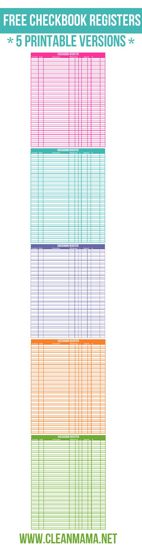 Free Checkbook Registers - 5 Printable Versions - Clean Mama - Free Printable Check Register