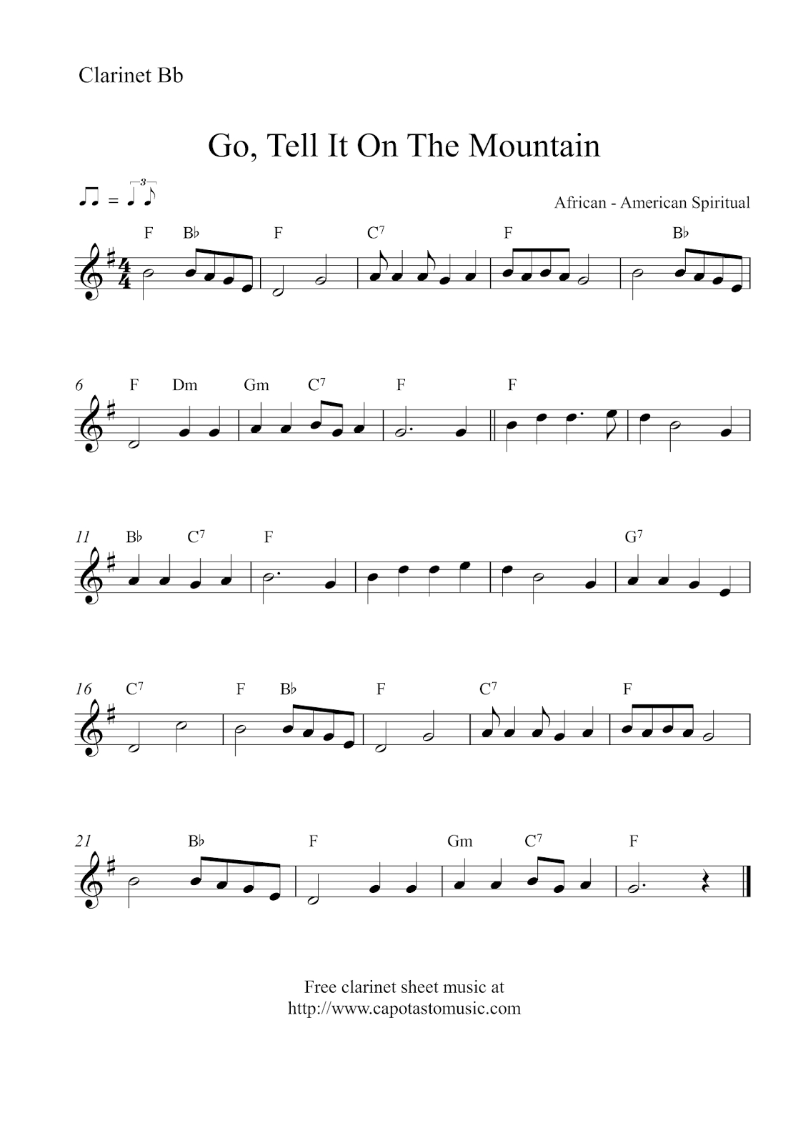 Free Christmas Clarinet Sheet Music - Go, Tell It On The Mountain - Free Printable Christmas Sheet Music For Clarinet