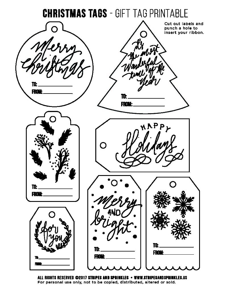 Free Christmas Gift Tag Printable - Bw - Stripes & Sprinkles - Christmas Gift Tags Free Printable Black And White