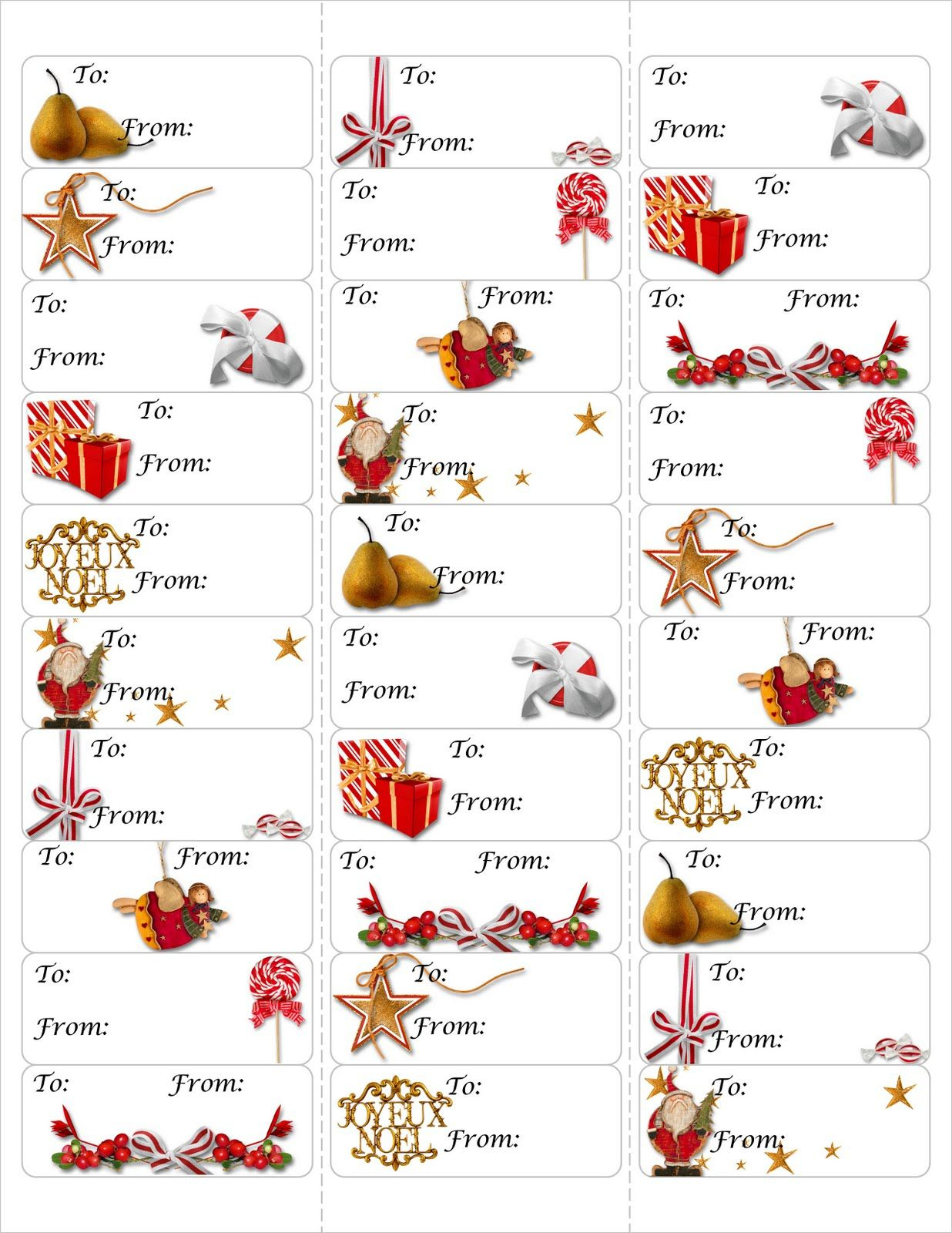 Free Christmas Gift Tag Printable ~ Print Either On Card Stock & Cut - Free Printable Holiday Gift Labels