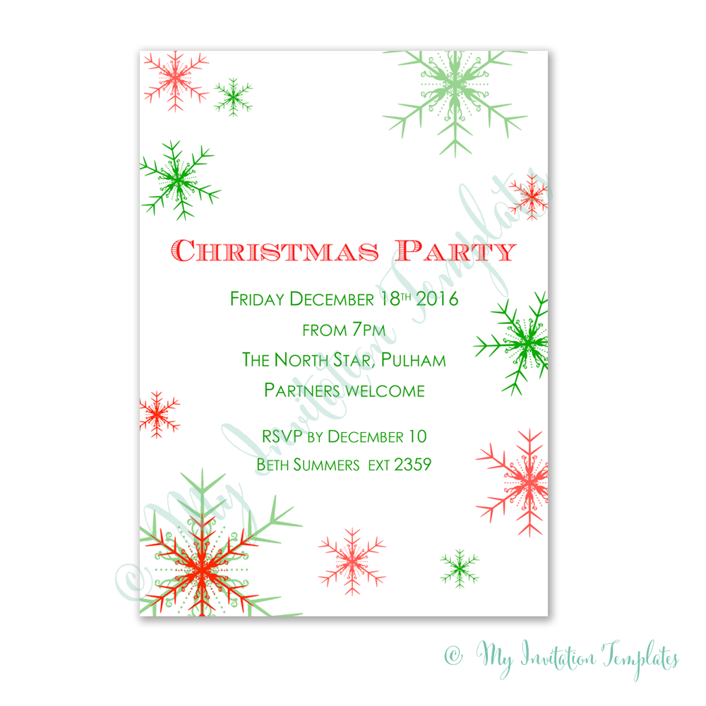 Free Christmas Party Invitation Template. Snowman Free Christmas - Free Printable Christmas Party Invitations