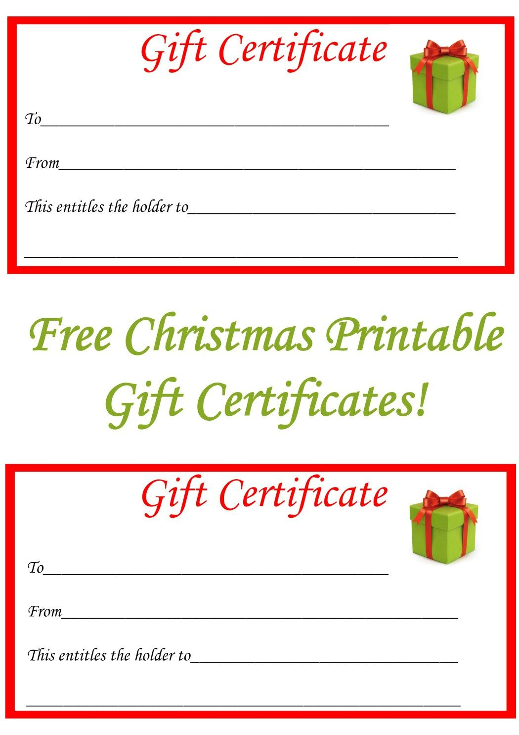 Free Christmas Printable Gift Certificates | Gift Ideas | Pinterest - Free Printable Gift Coupons