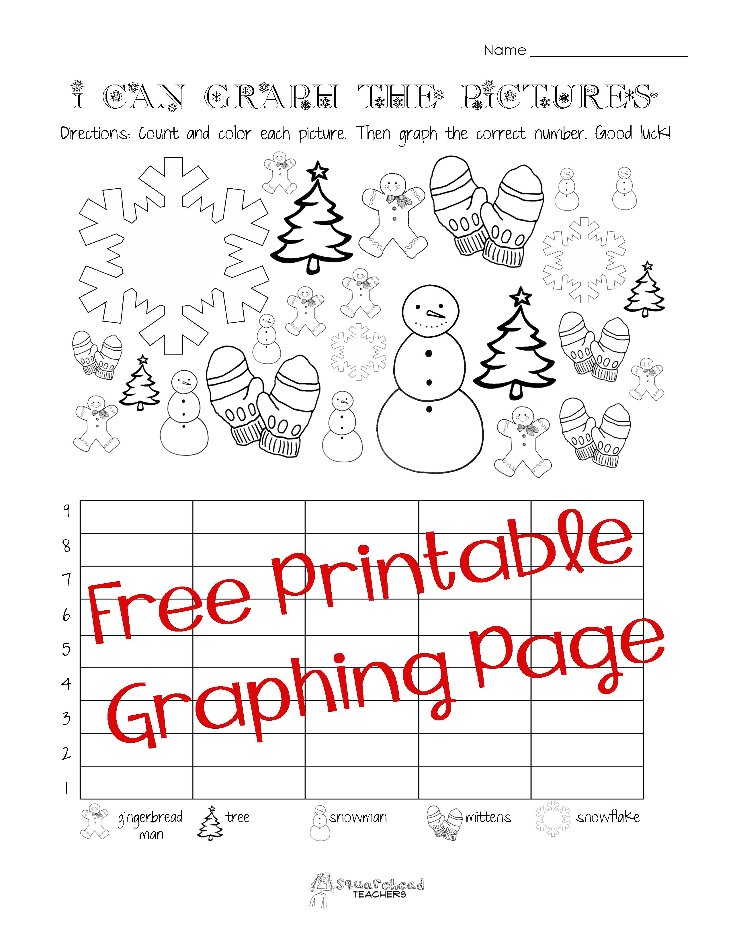 Free Christmas/winter Graphing Worksheet (Kindergarten, First Grade - Free Printable Worksheets For 1St Grade Language Arts