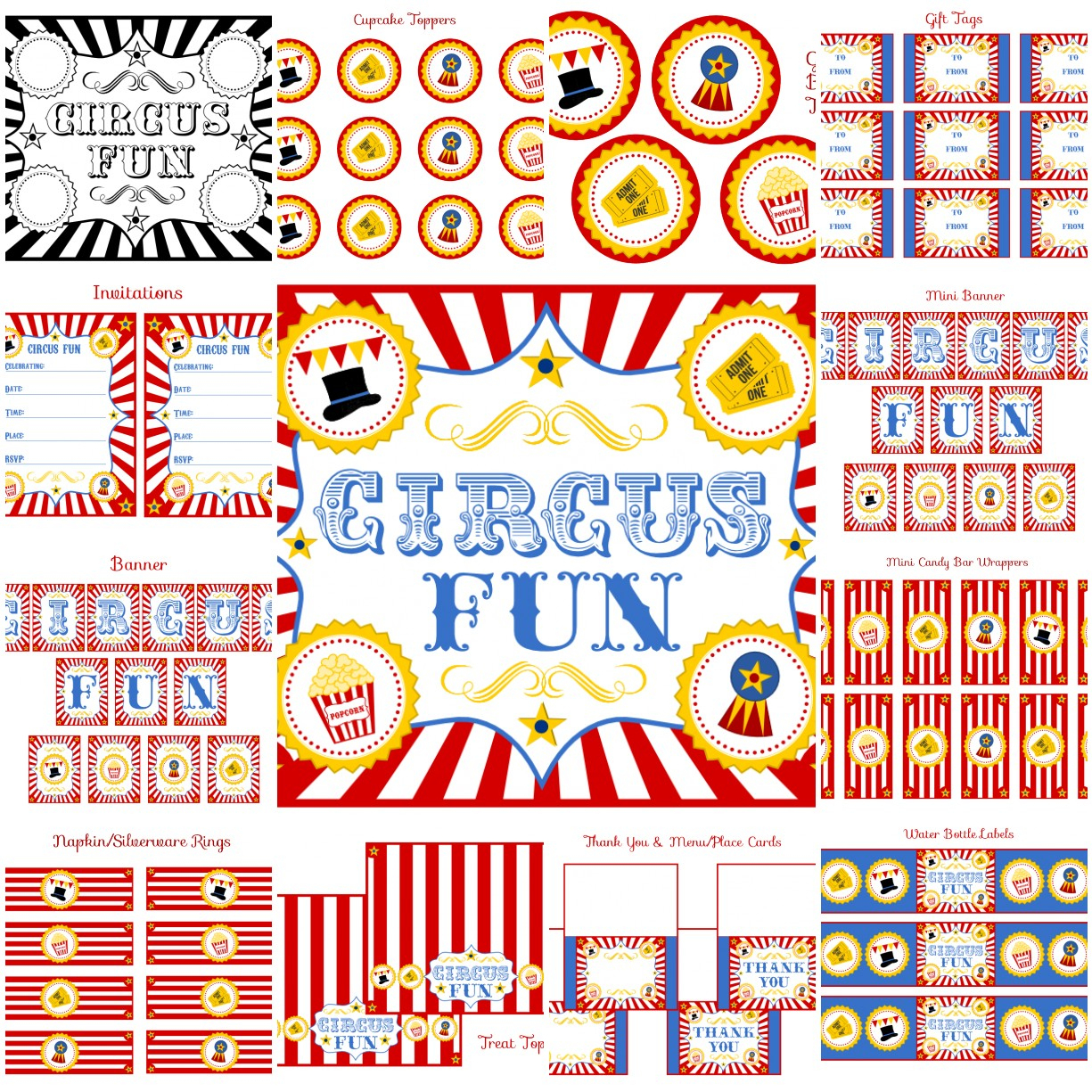 Free Circus Birthday Party Printables From Printabelle | Catch My Party - Free Printable Party Signs