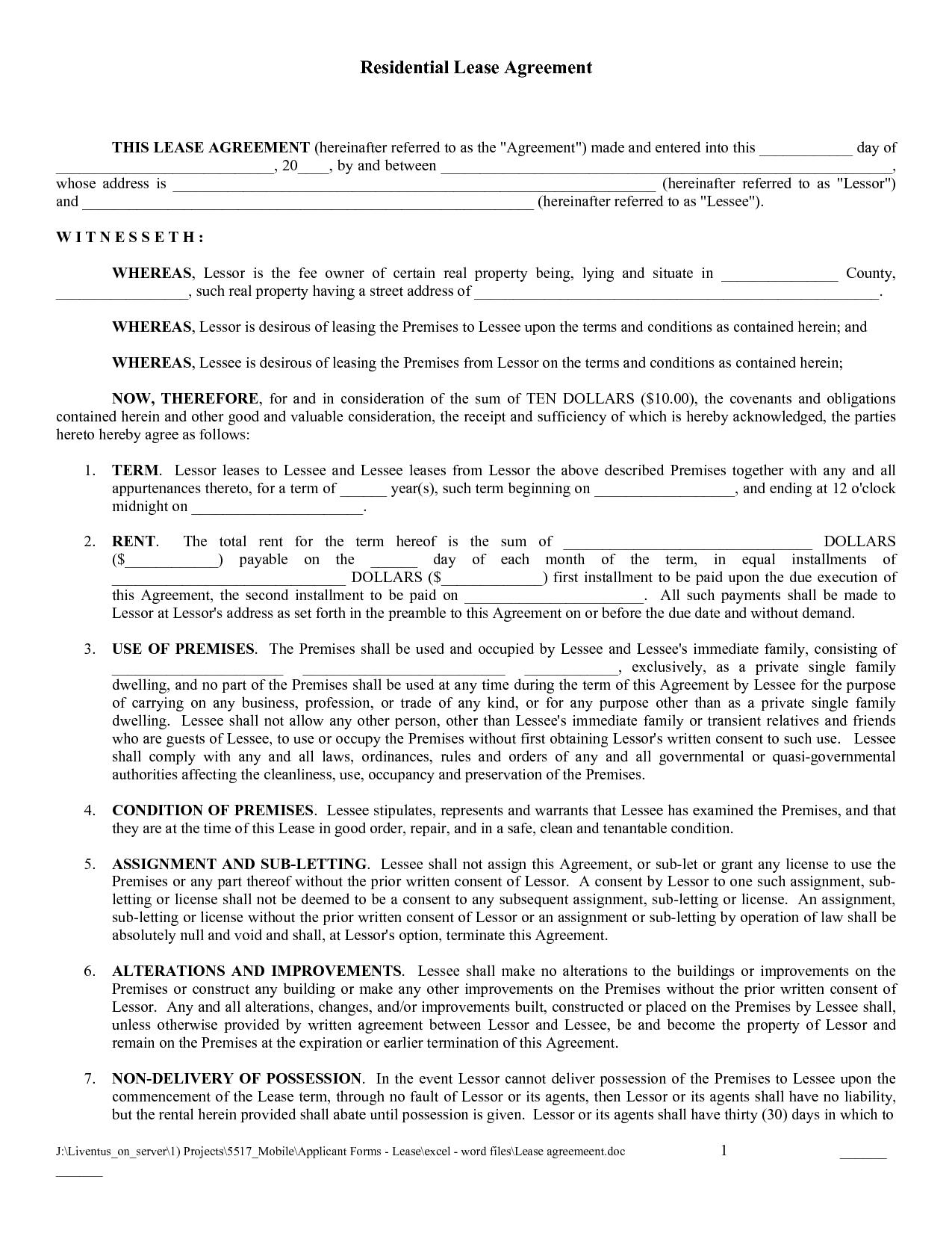 Free Copy Rental Lease Agreement | Free Printable Lease Agreement - Apartment Lease Agreement Free Printable