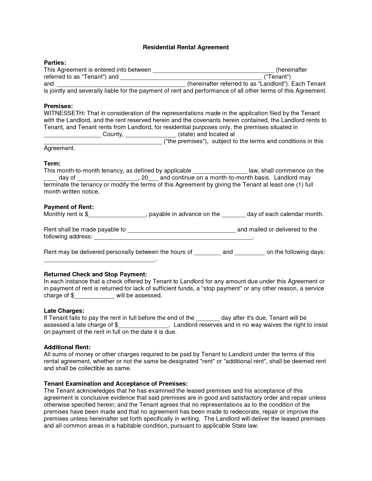 Free Copy Rental Lease Agreement | Residential Rental Agreement - Apartment Lease Agreement Free Printable