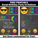 Free Customized Emoji Invitations And Birthday Printables   Free Printable Emoji B Day Invites