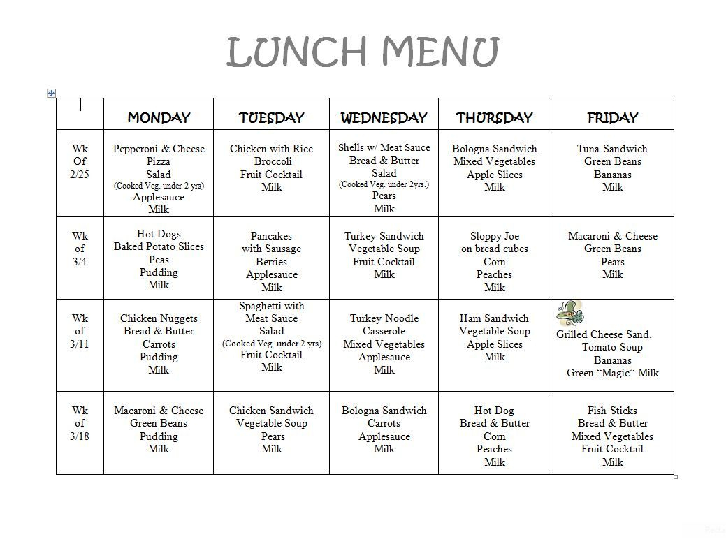 Free Daycare Menus To Print   8 Best Images Of Printable Preschool - Free Printable Daycare Menus