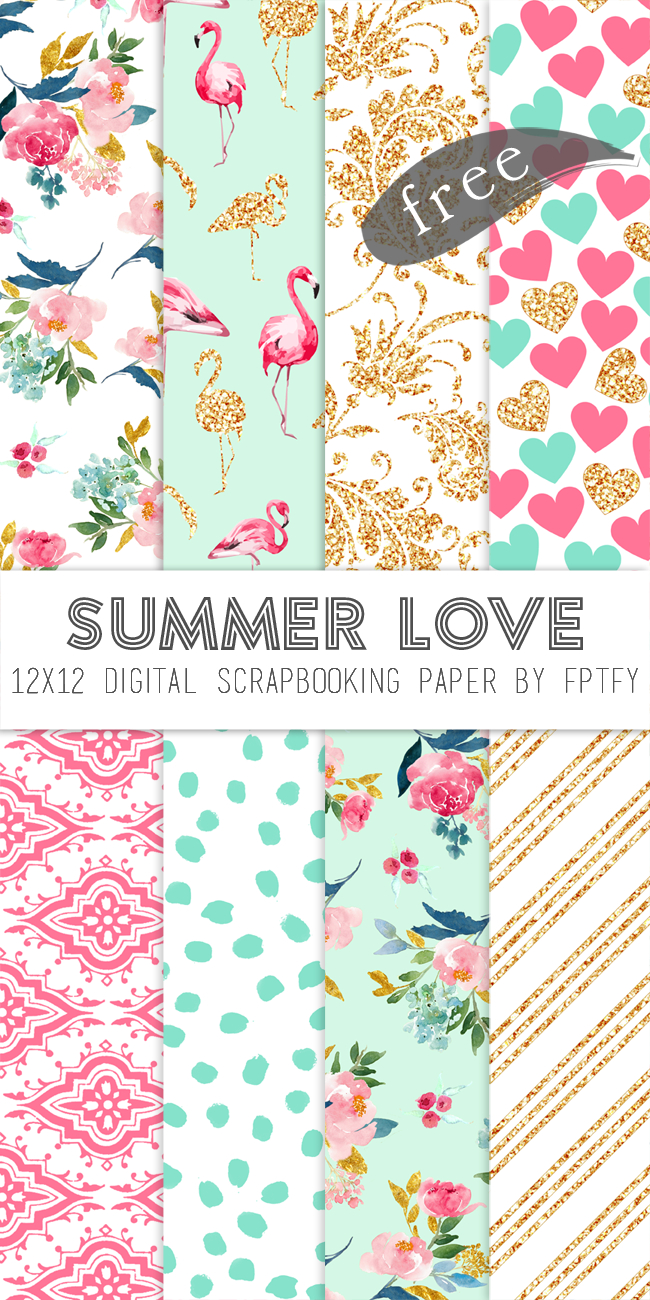 Free Digital Scrapbook Paper-Summer Love | Digital Paper | Digital - Free Online Digital Scrapbooking Printable
