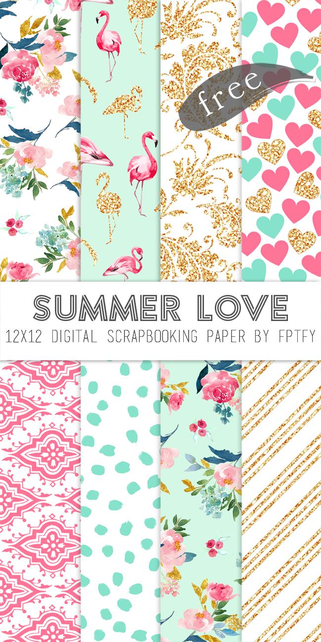 Free Digital Scrapbook Paper-Summer Love | Planner Printables - Free Printable Paper