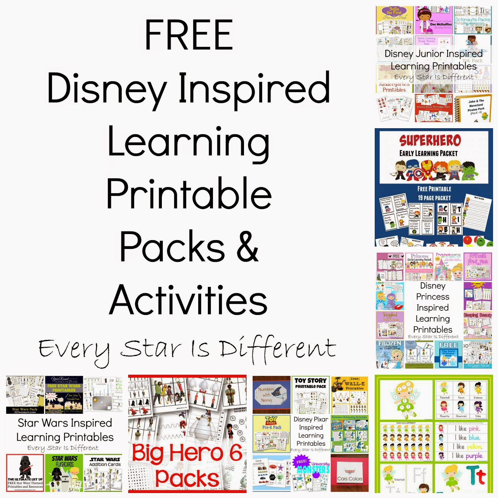 Free Disney Inspired Learning Printable Packs & Activities - Every - Free Printable Disney Stories