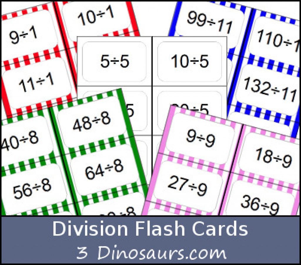 Free Division Flash Cards | 3 Dinosaurs Throughout Free Printable - Free Printable Division Flash Cards