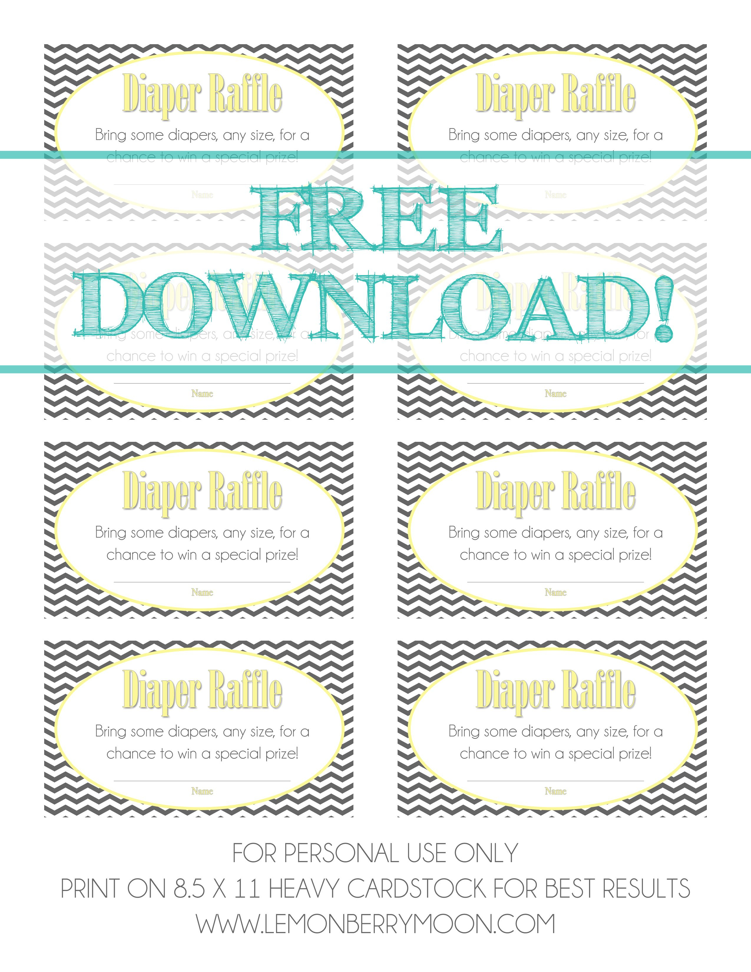 Free Download - Baby Diaper Raffle Template | Baaby Shower | Baby - Free Printable Diaper Raffle Ticket Template