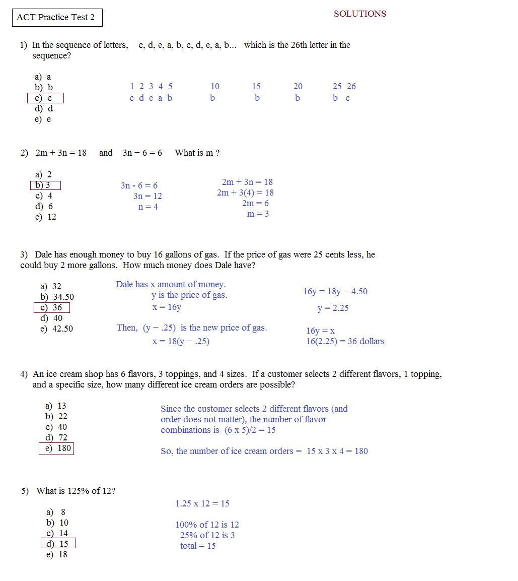 Free Downloadable Asvab Test - Free Printable Asvab Math Practice Test