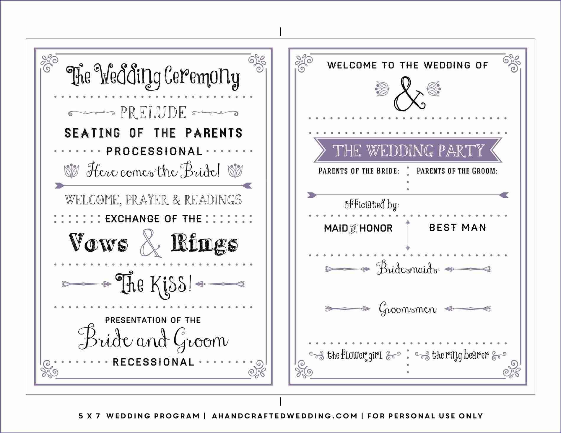 Free Downloadable Wedding Program Template That Can Be Printed - Free Printable Wedding Program Templates