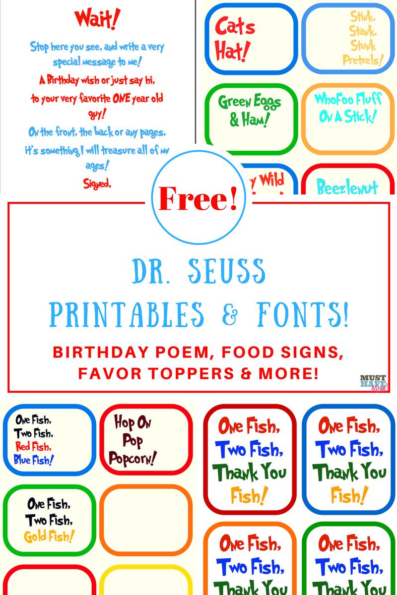 Free Dr. Seuss Printables & Fonts! - Free Printable Dr Seuss Photo Props