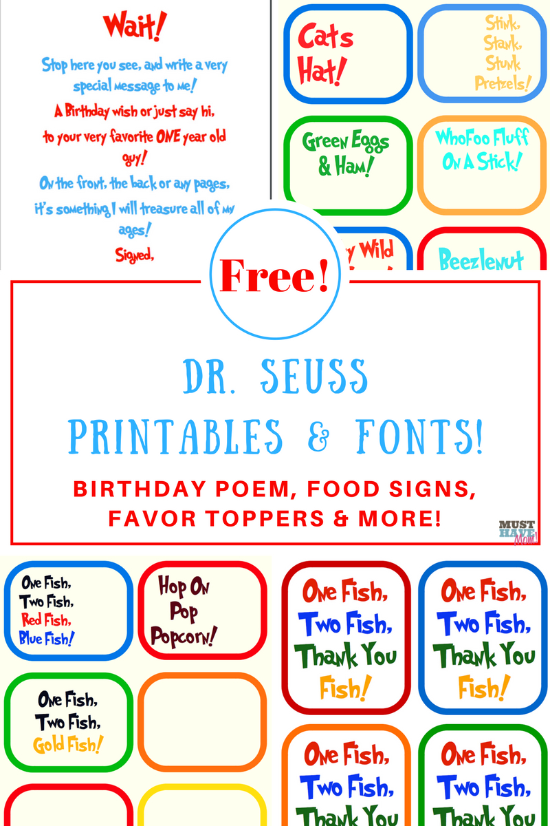 Free Dr. Seuss Printables & Fonts! - Free Printable Party Signs