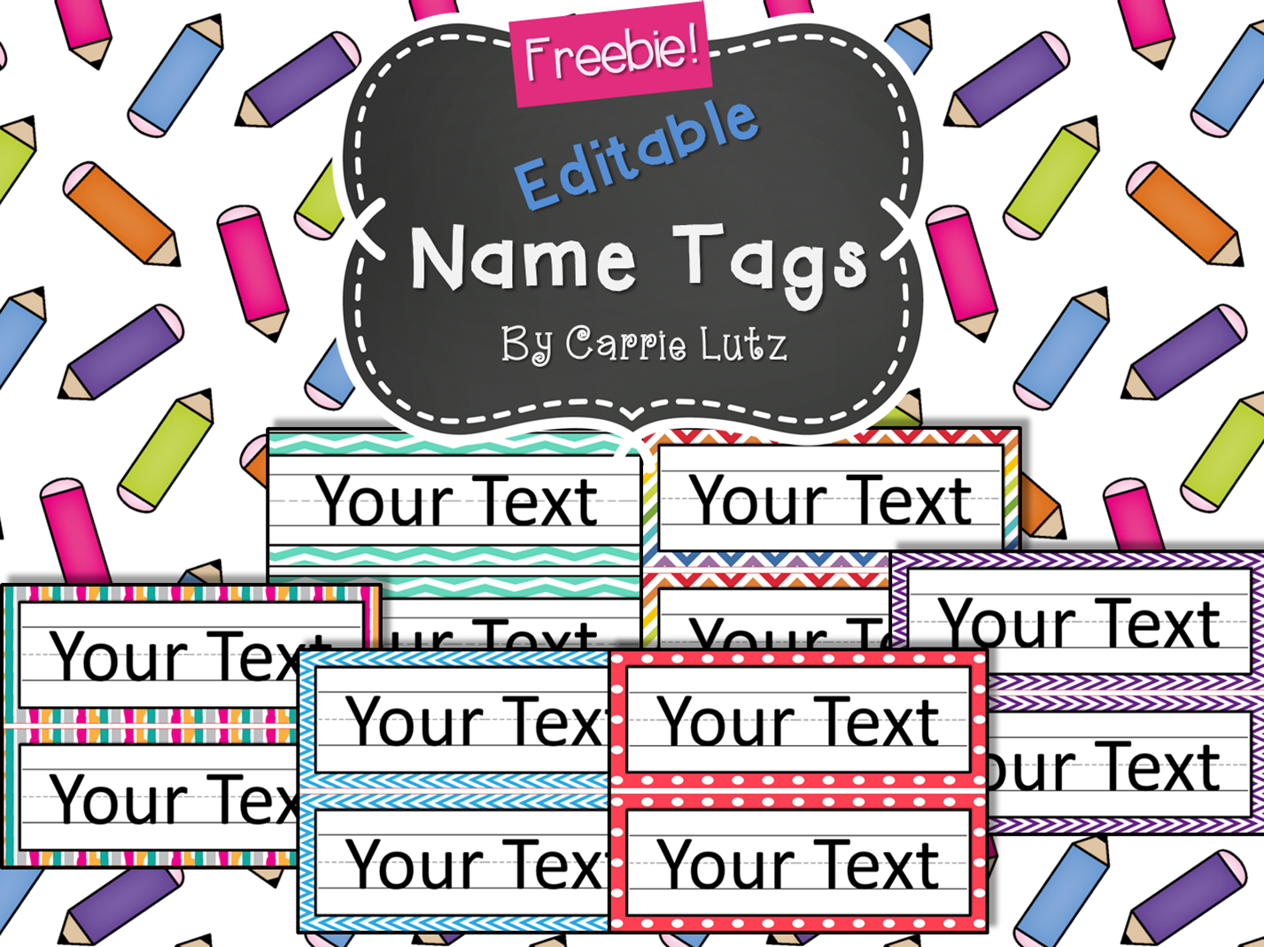 Free Editable!! Chevron, Dots Or Rainbow.simple Name Tags Type In - Free Printable Name Tags For Preschoolers