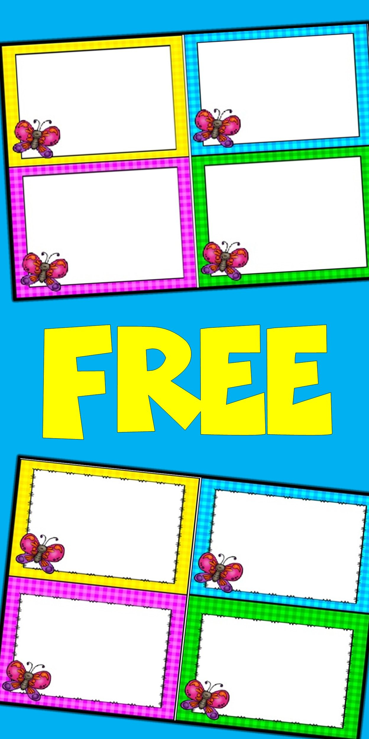 Free Editable Spring Card Templates | Butterflies | Pinterest - Free Printable Blank Task Cards