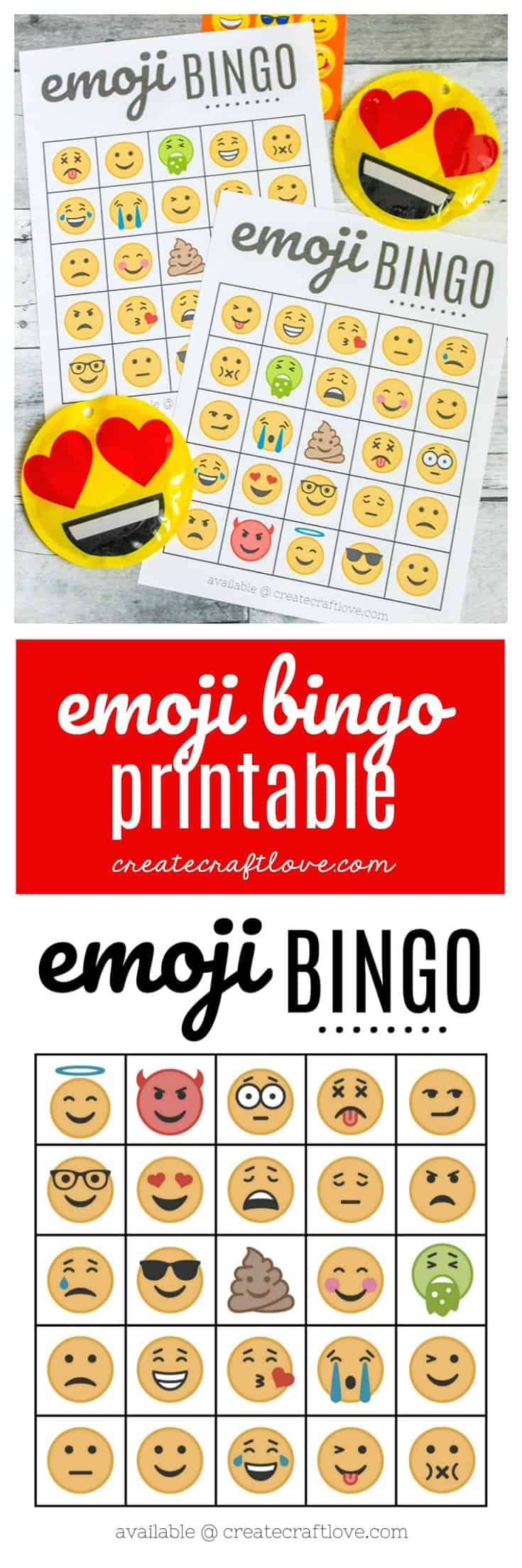 Free Emoji Bingo Printable - Create Craft Love - Free Emoji Bingo Printable