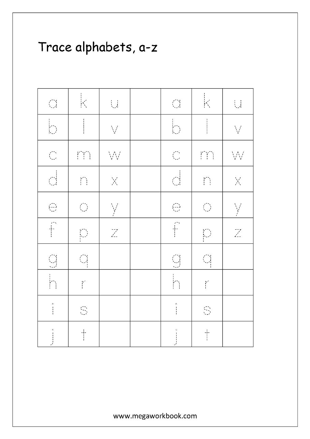 Free English Worksheets - Alphabet Tracing (Small Letters) - Letter - Free Printable Alphabet Tracing Worksheets