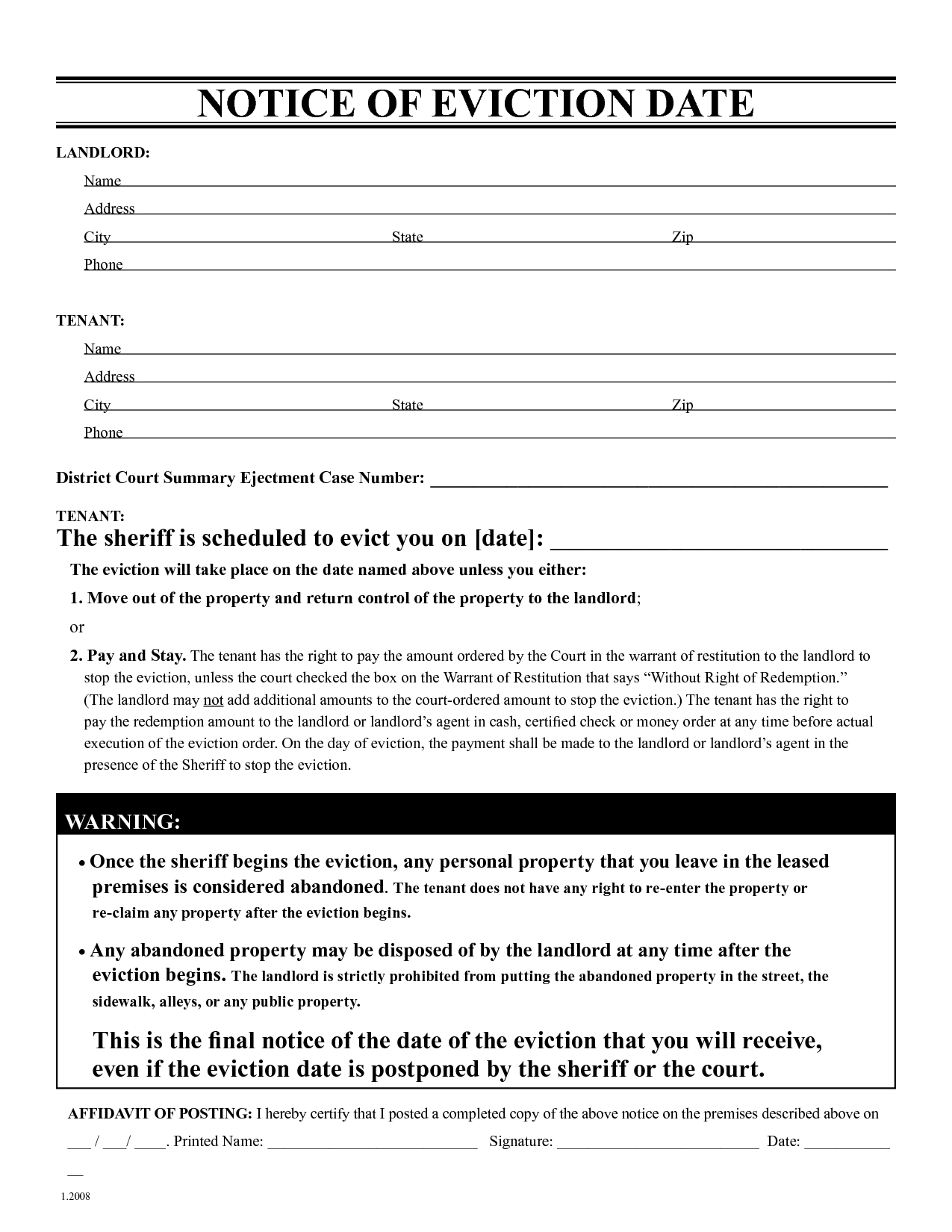 Free Eviction Notice Template | Printable Eviction Notice | Leaave - Free Printable Eviction Notice Pa