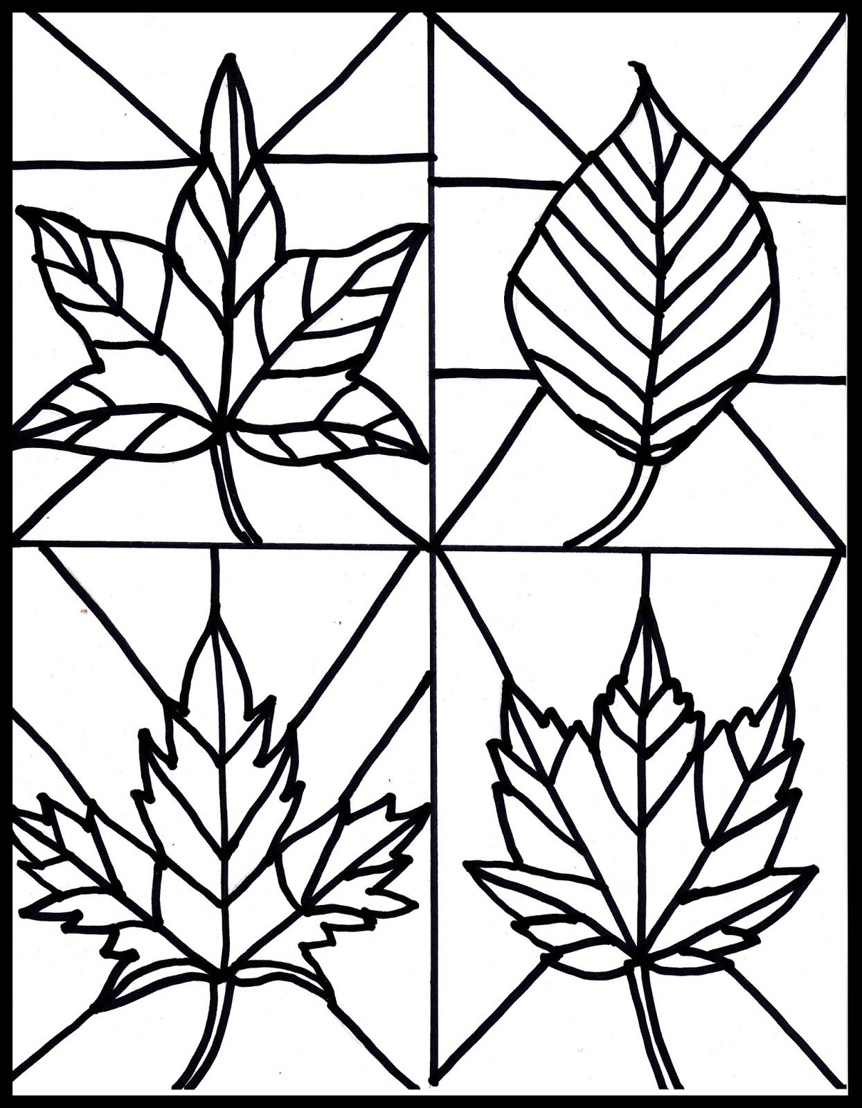 Free Fall Leaves Stained Glass Printable | Blogger Crafts We Love - Free Printable Stained Glass Patterns