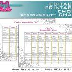 Free Family Chore Charts Printable | Editable / Printable Chore   Free Editable Printable Chore Charts