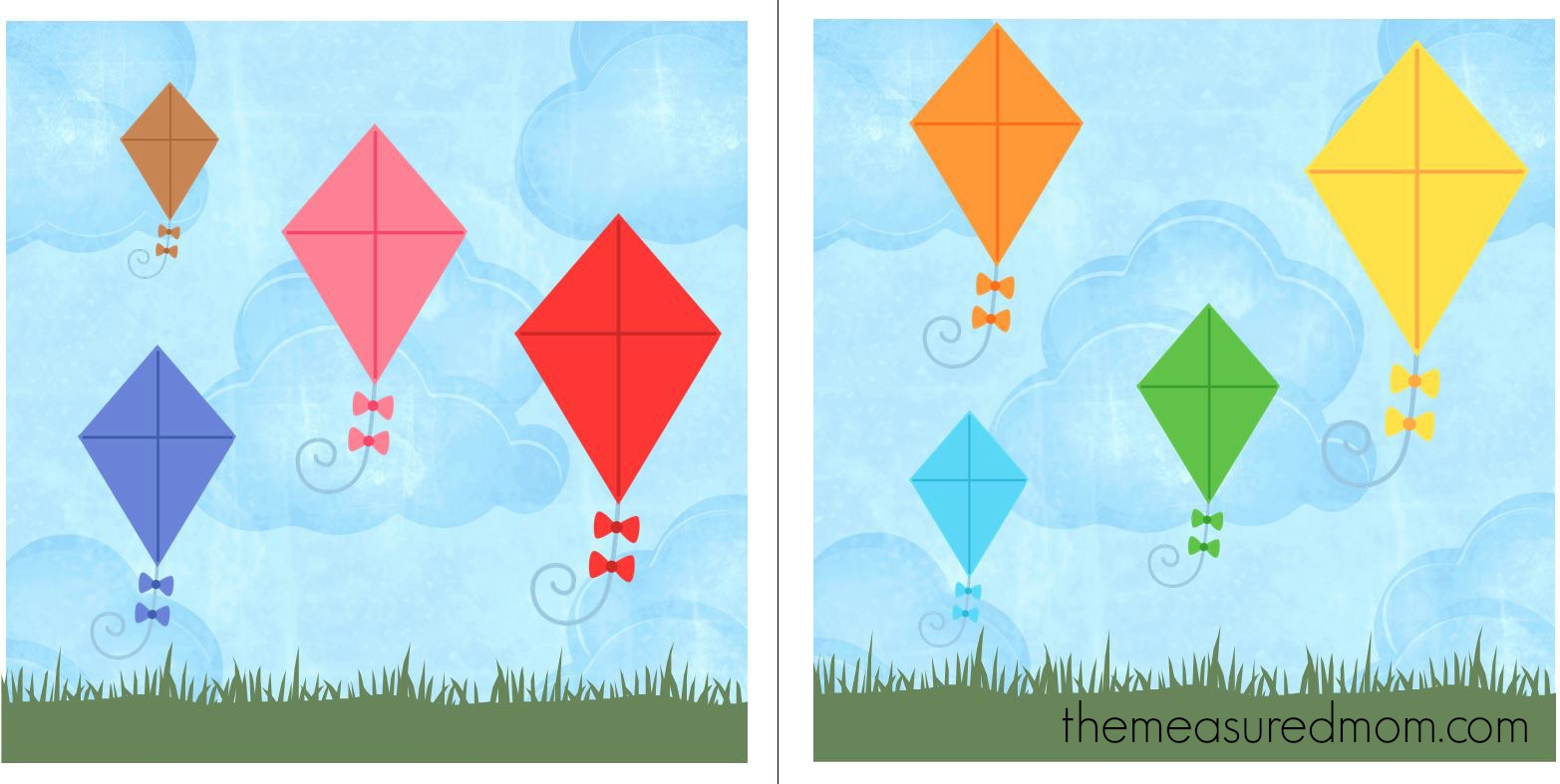 Free File Folder Game For Preschoolers: Kites! - The Measured Mom - File Folder Games For Toddlers Free Printable