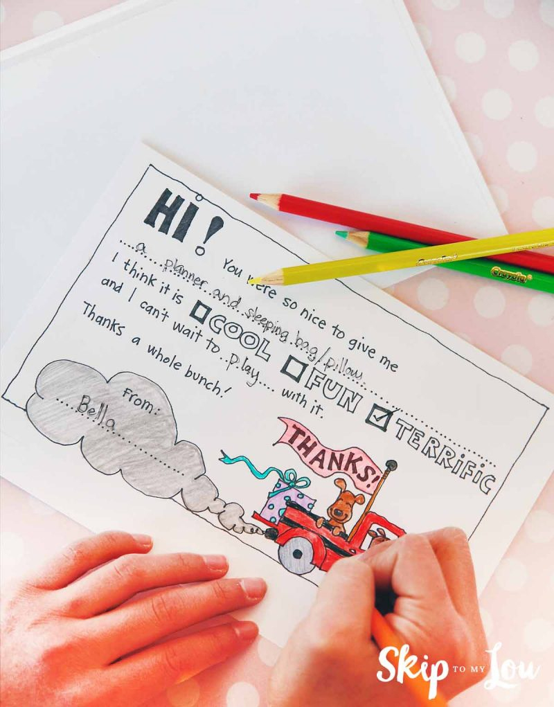 Free Fill In The Blank Thank You Cards For Kids | Skip To My Lou - Fill In The Blank Thank You Cards Printable Free
